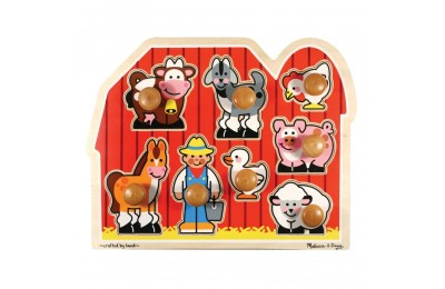 Melissa & Doug Farm Animals Jumbo Knob Wooden Puzzle 8pc Deal