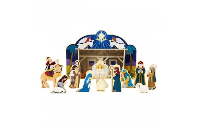 Black Friday 2020 Melissa & Doug Classic Wooden Christmas Nativity Set With 4-Piece Stable and 11 Wooden Figures Deal