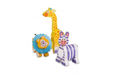 Melissa & Doug First Play Set of 3 Safari Animal Wooden Grasping Toys Deal