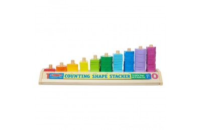 Black Friday 2020 Melissa & Doug Counting Shape Stacker - Wooden Educational Toy With 55 Shapes and 10 Number Tiles Deal