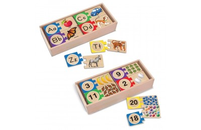 Black Friday 2020 Melissa & Doug Self-Correcting Letter and Number Wooden Puzzles Set With Storage Box 92pc Deal