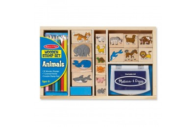 Melissa & Doug Wooden Stamp Set: Animals - 16 Stamps, 4 Colored Pencils, Stamp Pad Deal