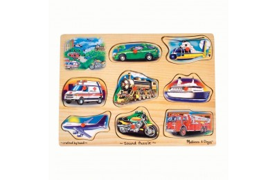 Melissa And Doug Vehicle Puzzle Wooden Peg Sound Puzzle 8pc Deal