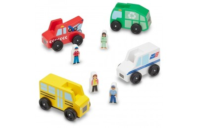 Melissa & Doug Community Vehicles Play Set - Classic Wooden Toy With 4 Vehicles and 4 Play Figures Deal