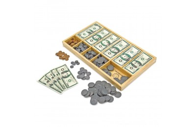 Melissa & Doug Play Money Set - Educational Toy With Paper Bills and Plastic Coins (50 of each denomination) and Wooden Cash Drawer for Storage Deal