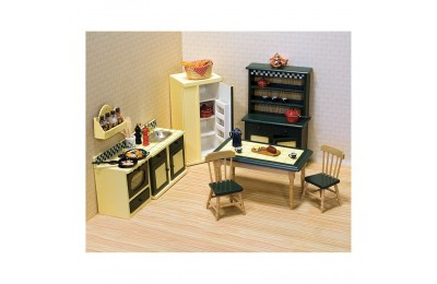 Melissa & Doug Classic Wooden Dollhouse Kitchen Furniture (7pc) - Buttery Yellow/Deep Green Deal