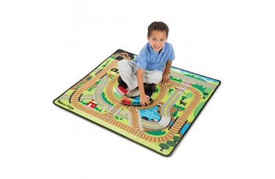 Black Friday 2020 Melissa & Doug Round the Rails Train Rug With 3 Linking Wooden Train Cars (39 x 36 inches) Deal