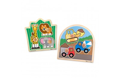 Melissa & Doug Jumbo Knob Wooden Puzzles Set - Construction and Safari 6pc Deal