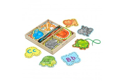 Melissa & Doug Alphabet Wooden Lacing Cards With Double-Sided Panels and Matching Laces Deal