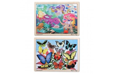 Black Friday 2020 Melissa & Doug Wooden Jigsaw Puzzle Set - Mermaids and Butterflies 96pc Deal