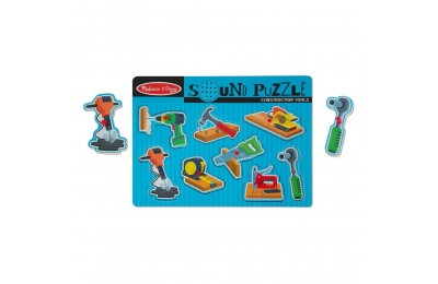 Melissa & Doug Construction Tools Sound Puzzle - Wooden Peg Puzzle (8pc) Deal