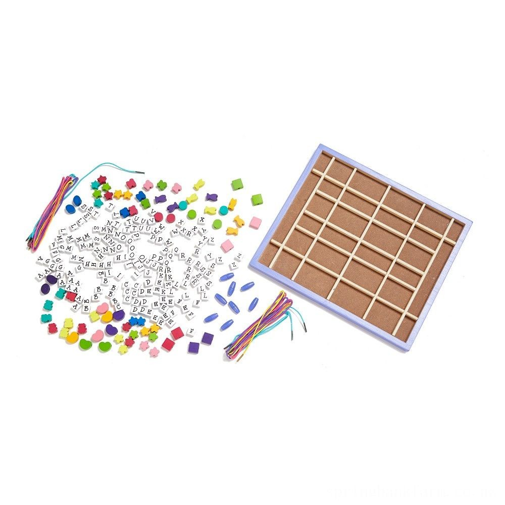 Black Friday 2020 Melissa & Doug Deluxe Wooden Stringing Beads With 200+ Beads and 8 Laces for Jewelry-Making Deal