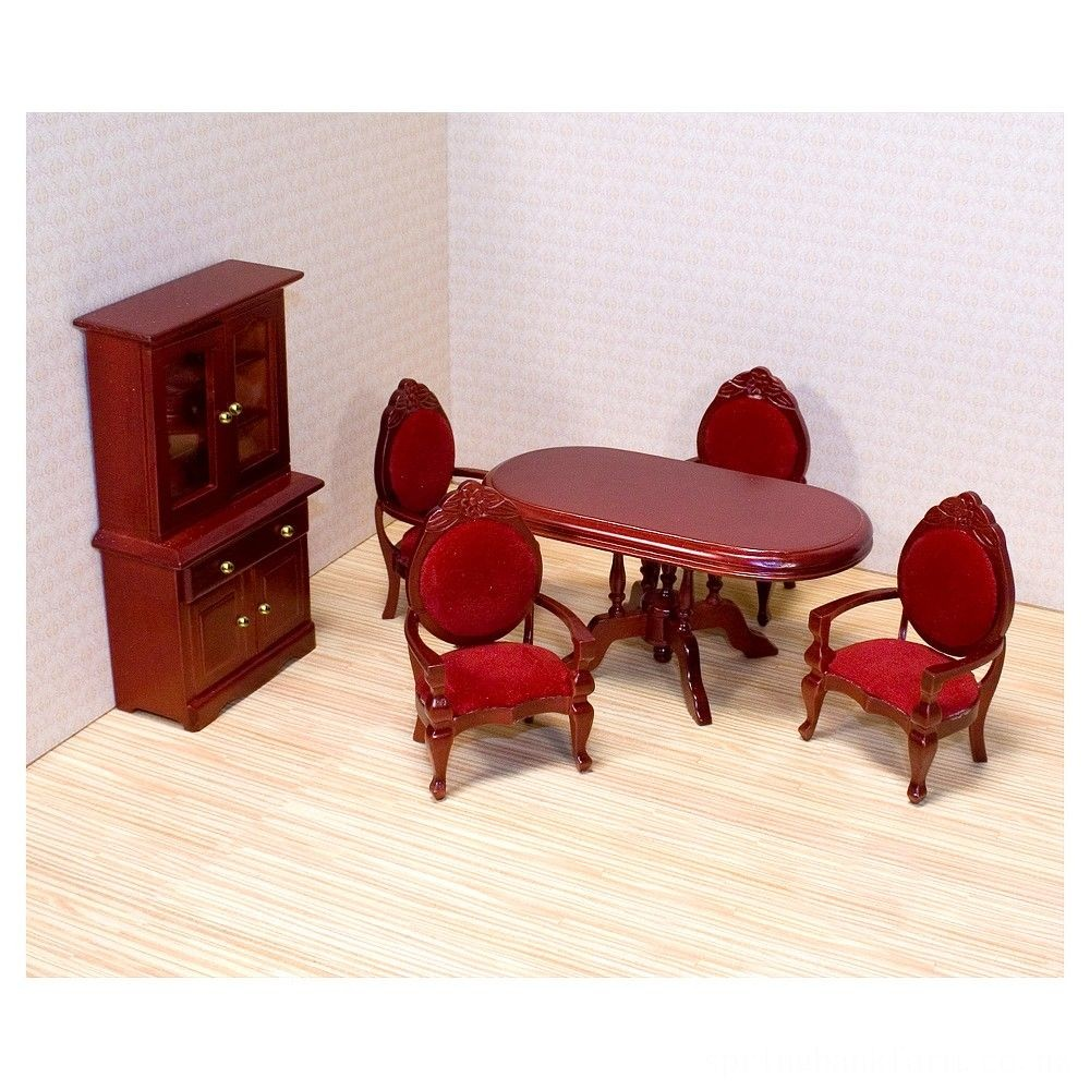Melissa & Doug Classic Wooden Dollhouse Dining Room Furniture (6pc) - Table, Armchairs, Hutch Deal
