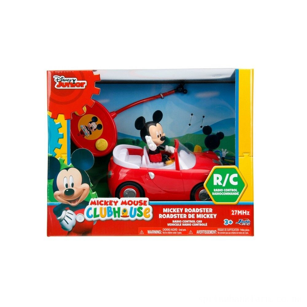 "Jada Toys Disney Junior RC Mickey Mouse Club House Roadster Remote Control Vehicle 7"" Glossy Red Deal"