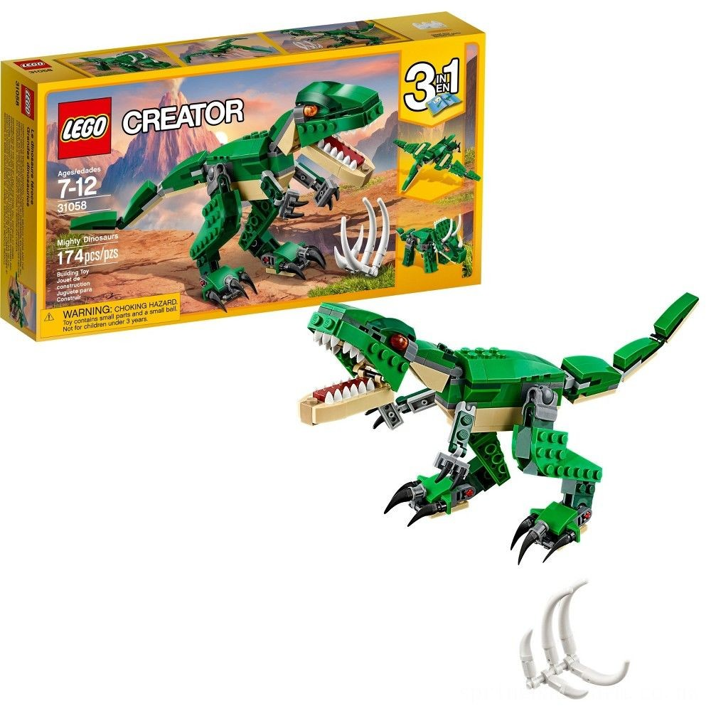 LEGO Creator Mighty Dinosaurs 31058 Build It Yourself Dinosaur Set, Pterodactyl, Triceratops, T Rex Toy Deal