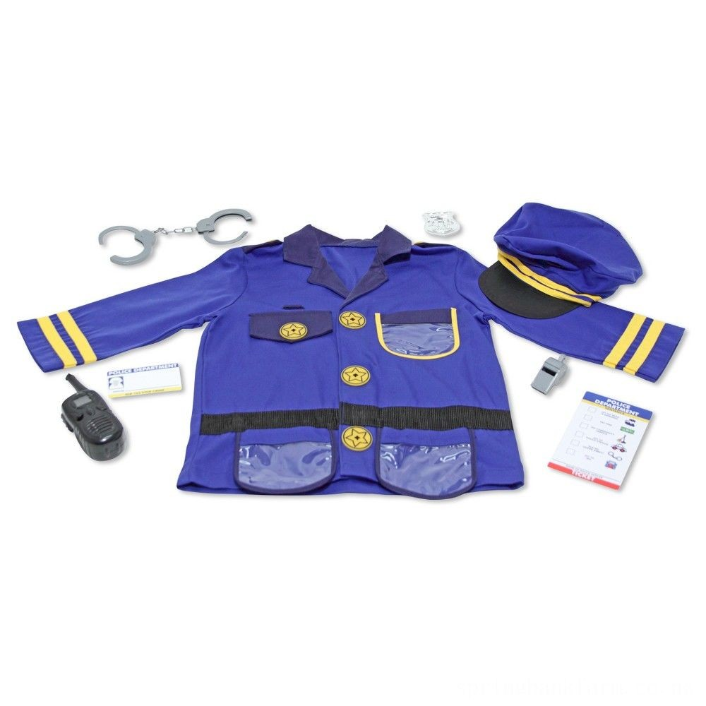 Melissa & Doug Police Officer Role Play Costume Dress-Up Set (8pc), Adult Unisex, Size: Small, Red/Gold Deal