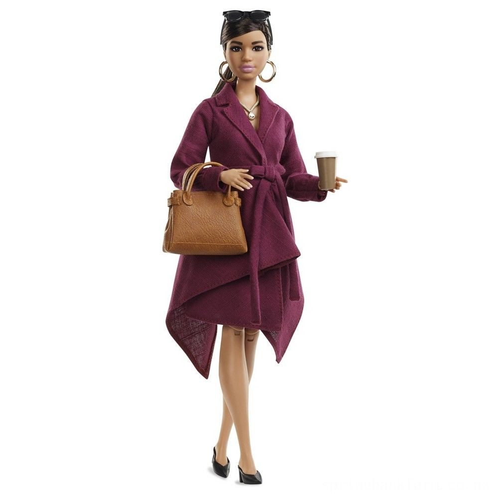 Barbie Signature Styled By Chriselle Lim Collector Doll in Burgundy Trench Dress Deal