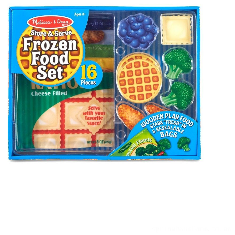 Melissa & Doug Store and Serve Frozen Food Resealable Cloth Bags With Wooden Play Food Deal