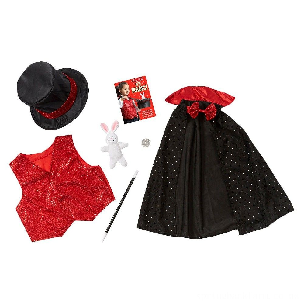 Melissa & Doug Magician Role Play Costume Set - Includes Hat, Cape, Wand, Magic Tricks, Adult Unisex Deal