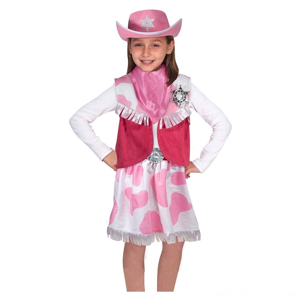 Melissa & Doug Cowgirl Role Play Costume Set (5pcs) - Skirt, Hat, Vest, Badge, Scarf, Adult Unisex Deal