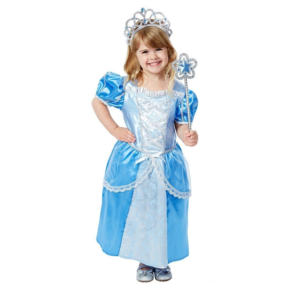 Melissa & Doug Royal Princess Role Play Costume Set (3pc) - Blue Gown, Tiara, Wand, Women's, Size: Small Deal