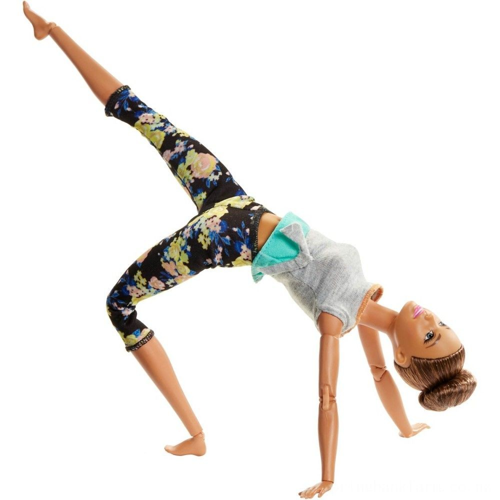 Barbie Made To Move Yoga Doll - Floral Blue Deal