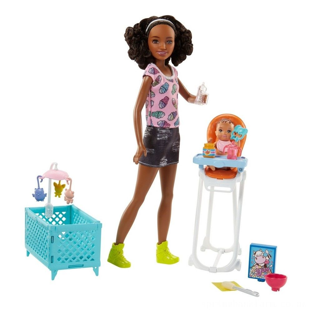 Barbie Skipper Babysitters Inc. Doll and Feeding Playset - Brunette Deal