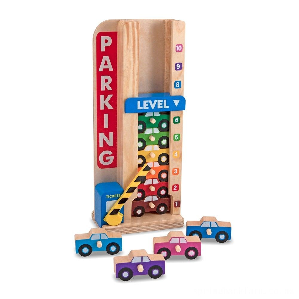 Melissa & Doug Stack & ct Wooden Parking Garage With 10 Cars Deal