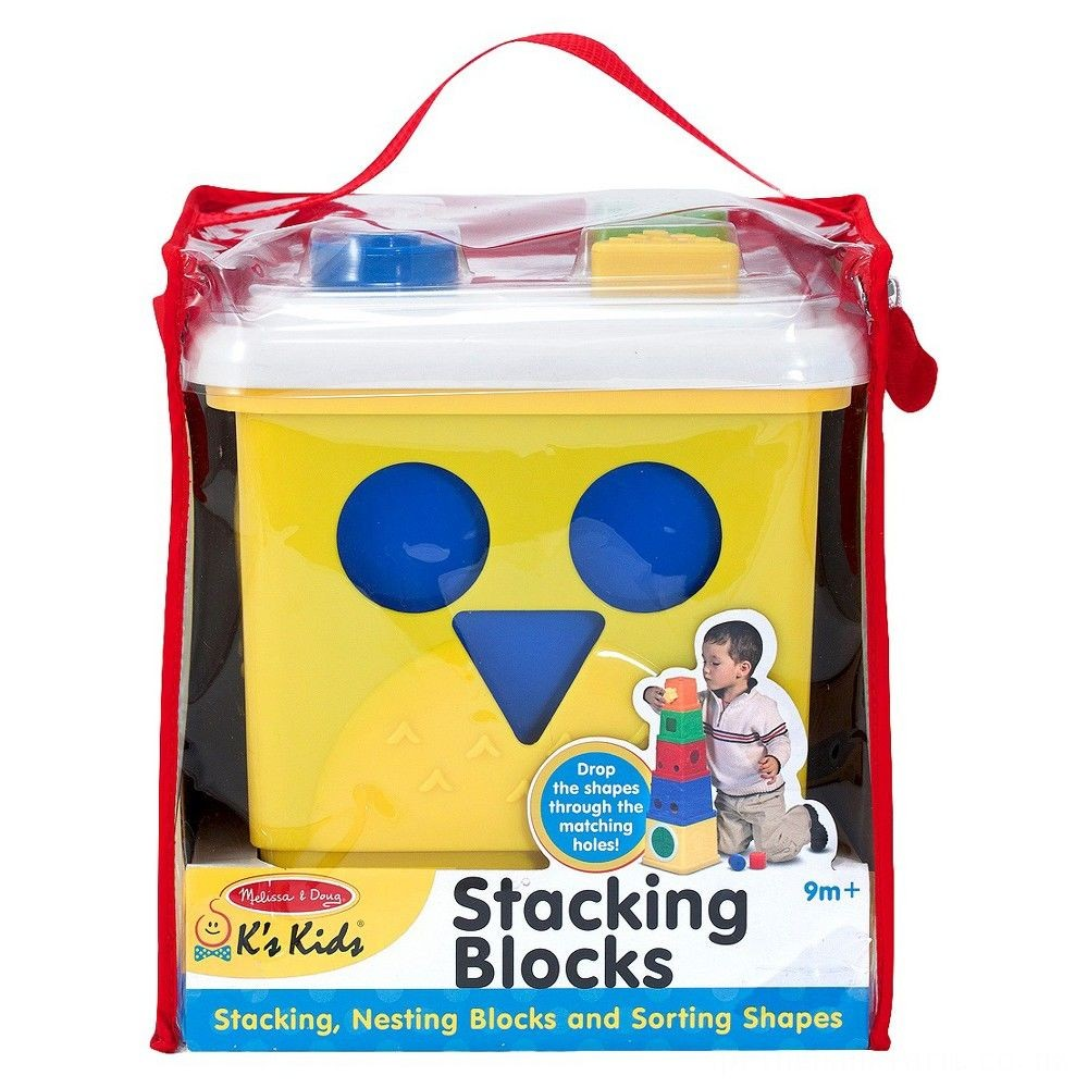 Melissa & Doug K's Kids Stacking Blocks Set With Sorting Shapes Deal