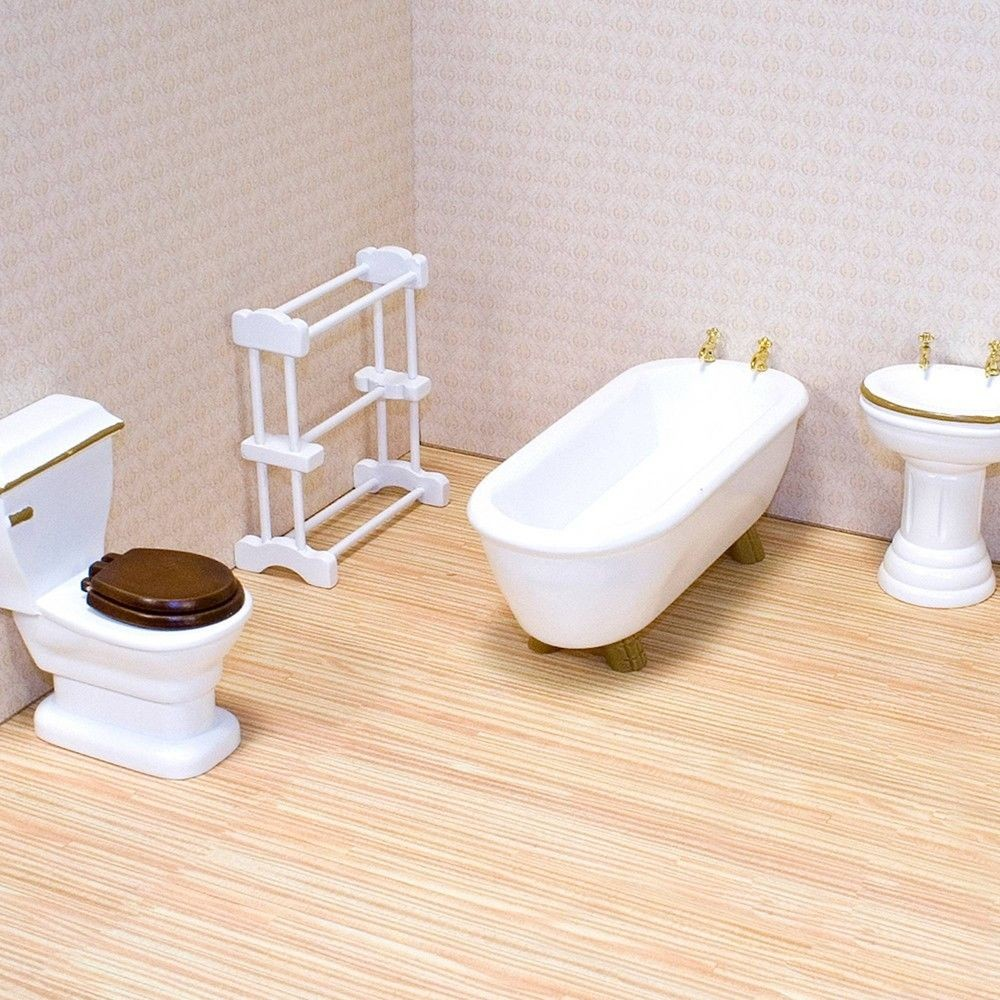 Melissa & Doug Classic Wooden Dollhouse Bathroom Furniture (4pc) - Tub, Sink, Toilet, Towel Rack Deal