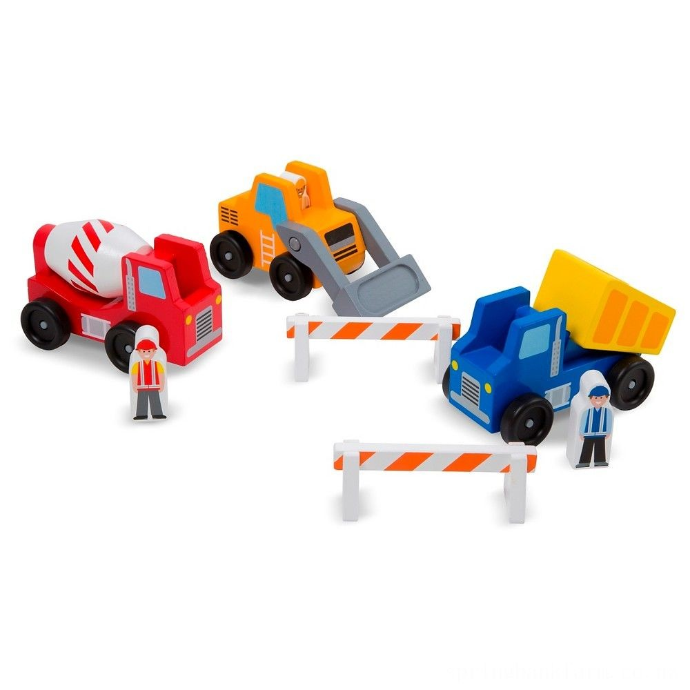 Melissa & Doug Construction Vehicle Wooden Play Set (8pc) Deal