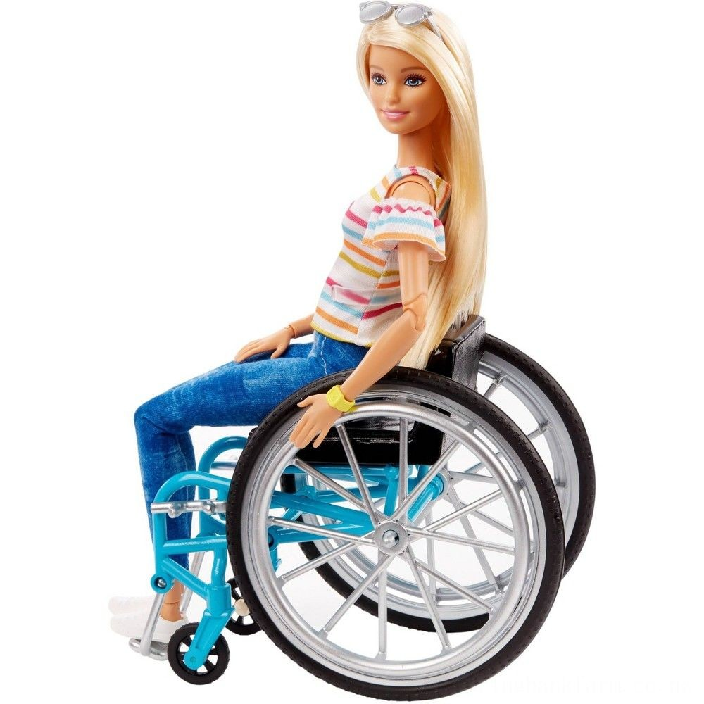 Barbie Fashionistas Doll #132 Blonde with Rolling Wheelchair and Ramp Deal