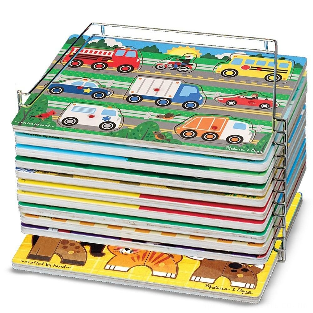 Melissa & Doug Puzzle Storage Rack - Wire Rack Holds 12 Puzzles Deal