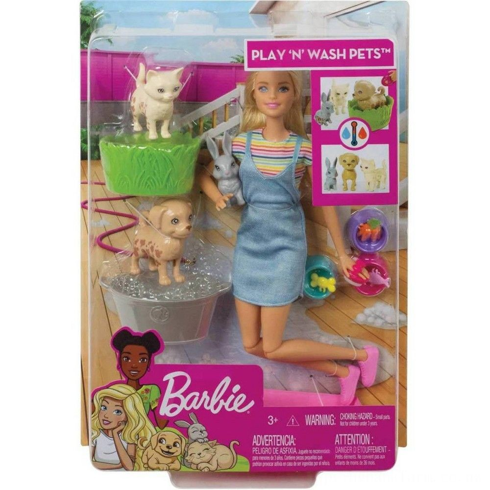Barbie Play 'n' Wash Pets Doll and Playset Deal