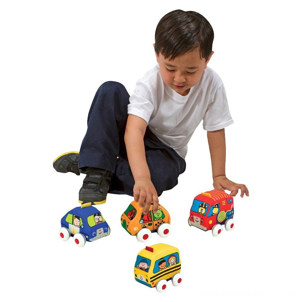Melissa & Doug K's Kids Pull-Back Vehicle Set - Soft Baby Toy Set With 4 Cars and Trucks and Carrying Case Deal