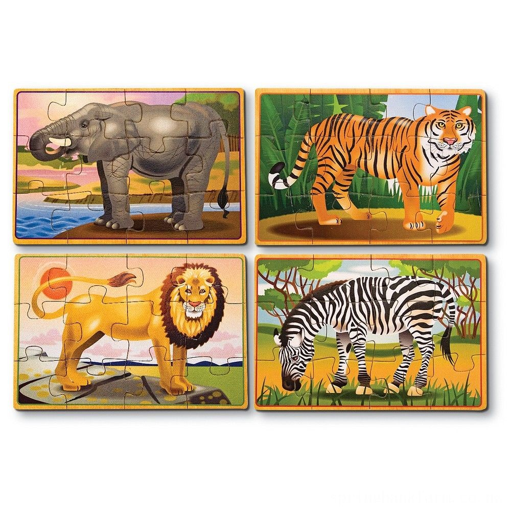 Melissa & Doug Wild Animals 4-in-1 Wooden Jigsaw Puzzles in a Storage Box (48pc) Deal