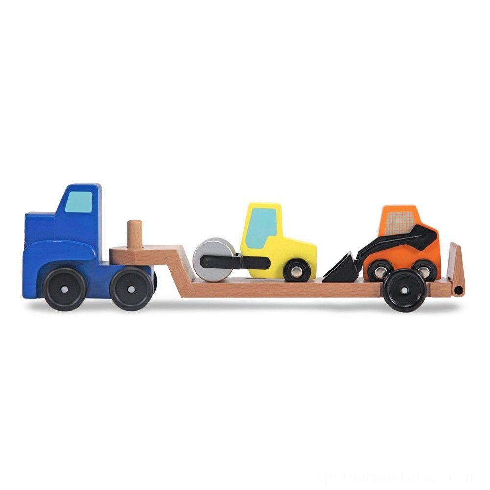 Melissa & Doug Low Loader Wooden Vehicle Play Set - 1 Truck With 2 Chunky Construction Vehicles Deal