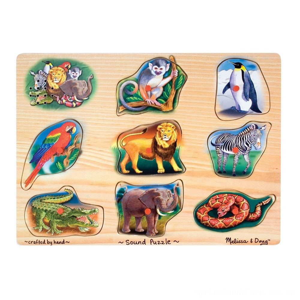 Melissa & Doug Zoo Sound Puzzle - Wooden Peg Puzzle With Sound Effects 8pc Deal