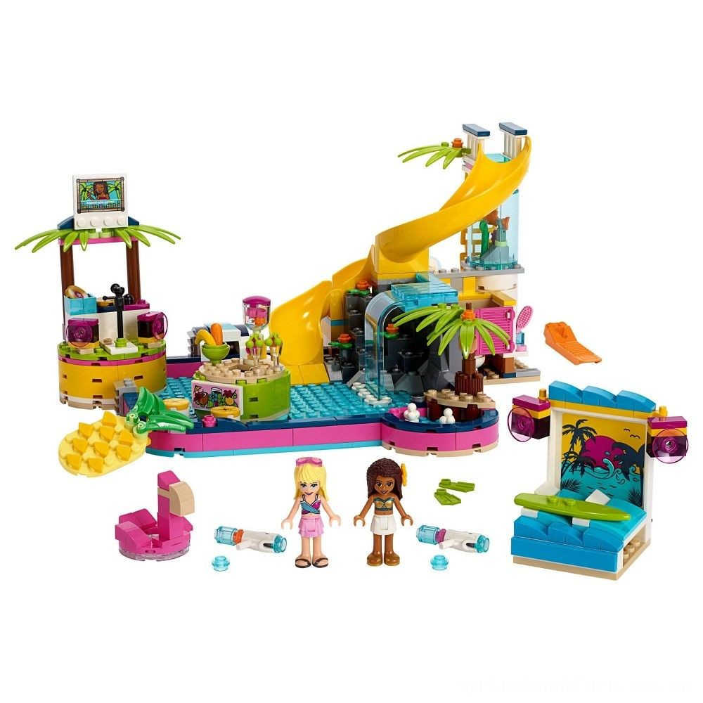 LEGO Friends Andrea's Pool Party 41374 Toy Pool Building Set with Mini Dolls for Pretend Play Deal