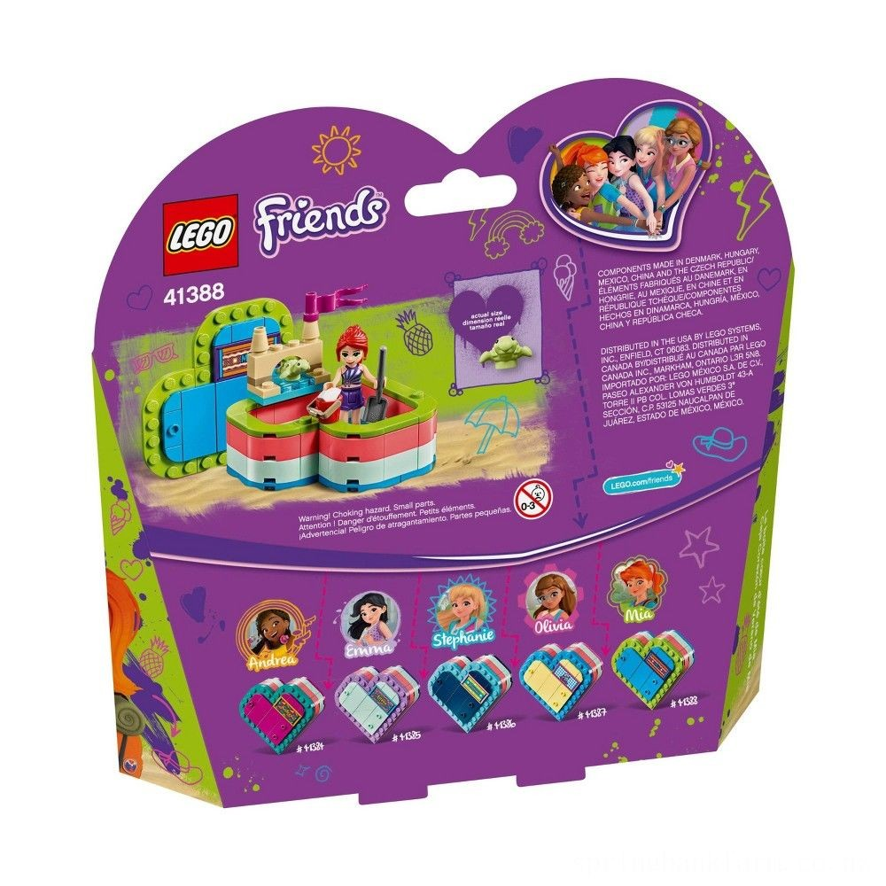LEGO Friends Mia's Summer Heart Box 41388 Building Kit with Turtle Figure and Mia Mini Doll 85pc Deal