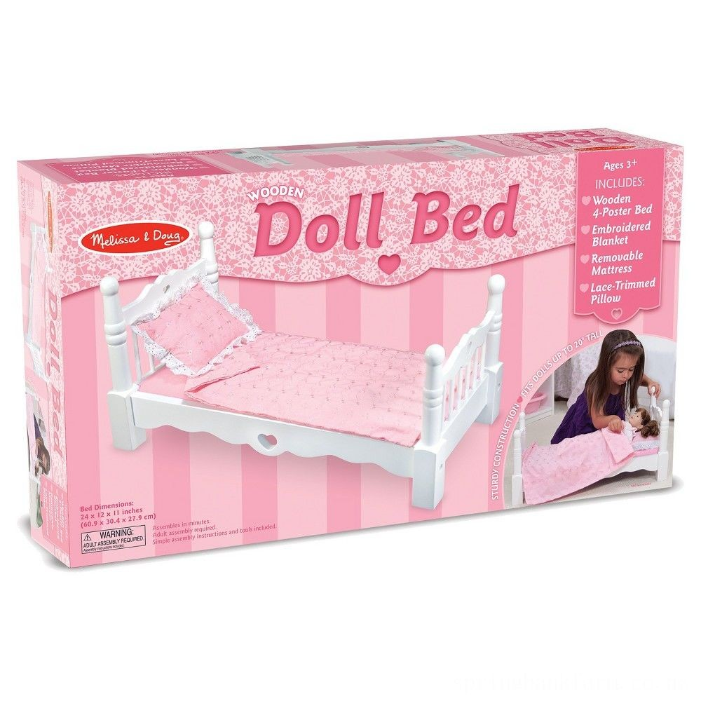 Melissa & Doug White Wooden Doll Bed With Bedding (24 x 12 x 11 inches) Deal