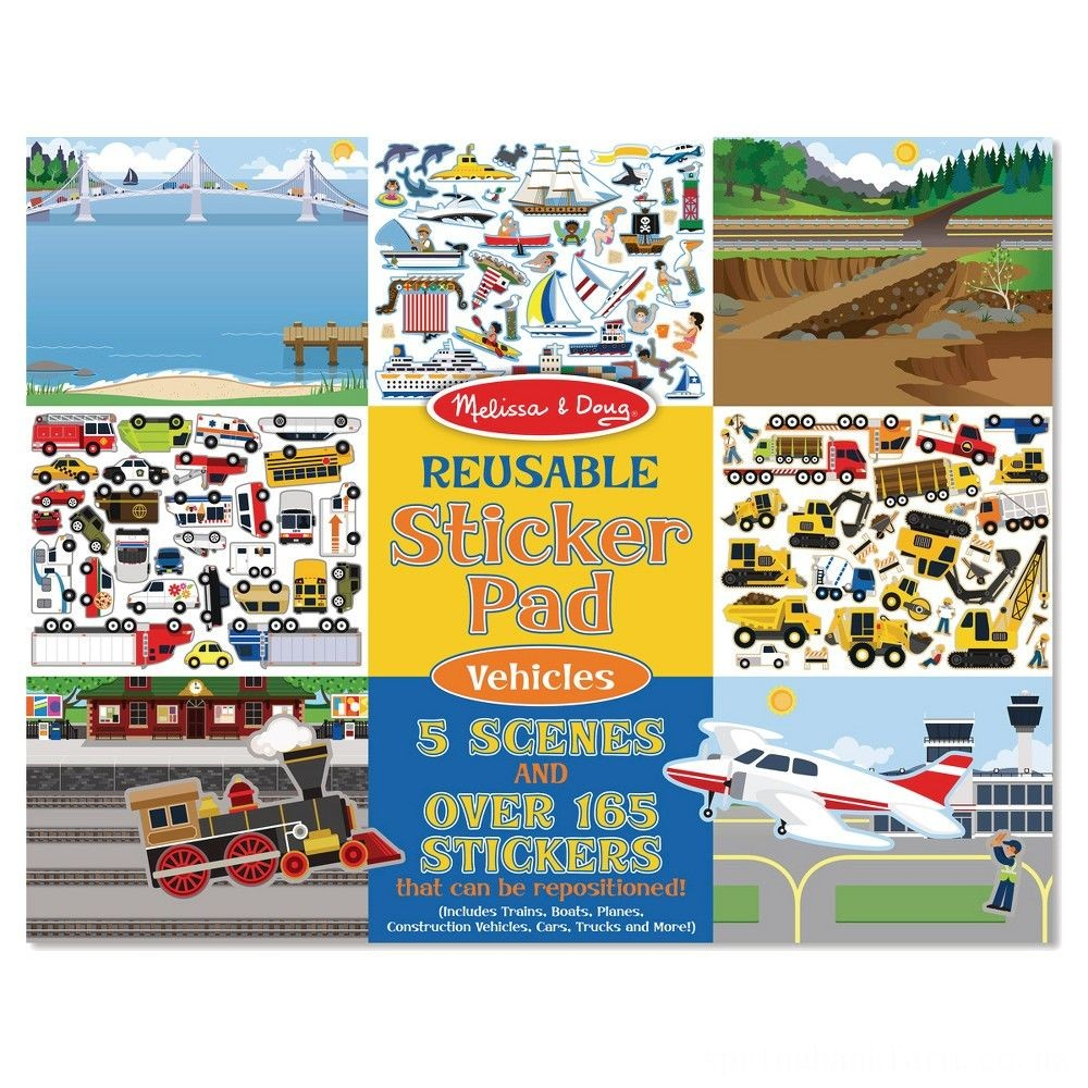 Melissa & Doug Reusable Sticker Pads Set: Habitats, Vehicles, Town: 115 Stickers Deal
