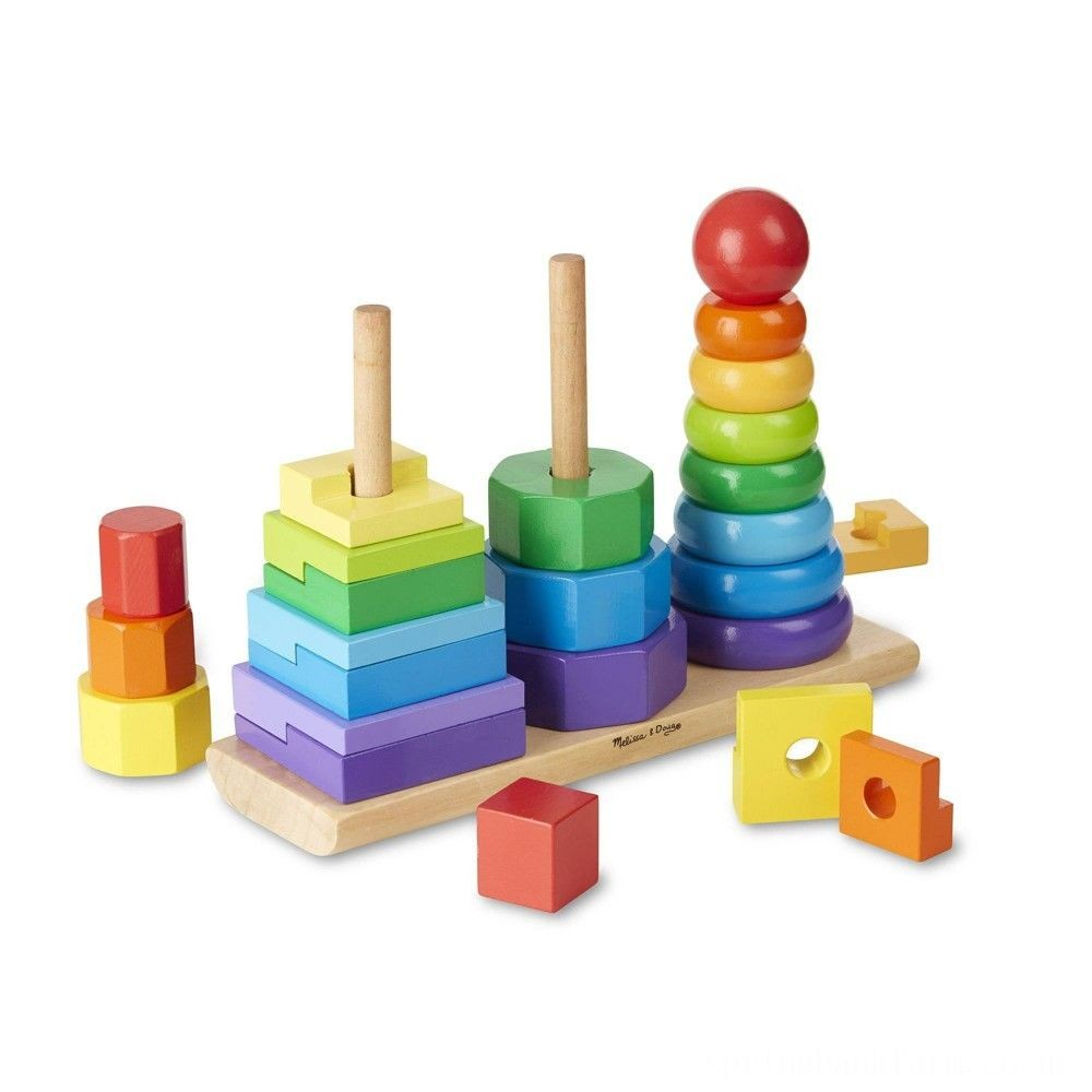 Melissa & Doug Geometric Stacker - Wooden Educational Toy Deal