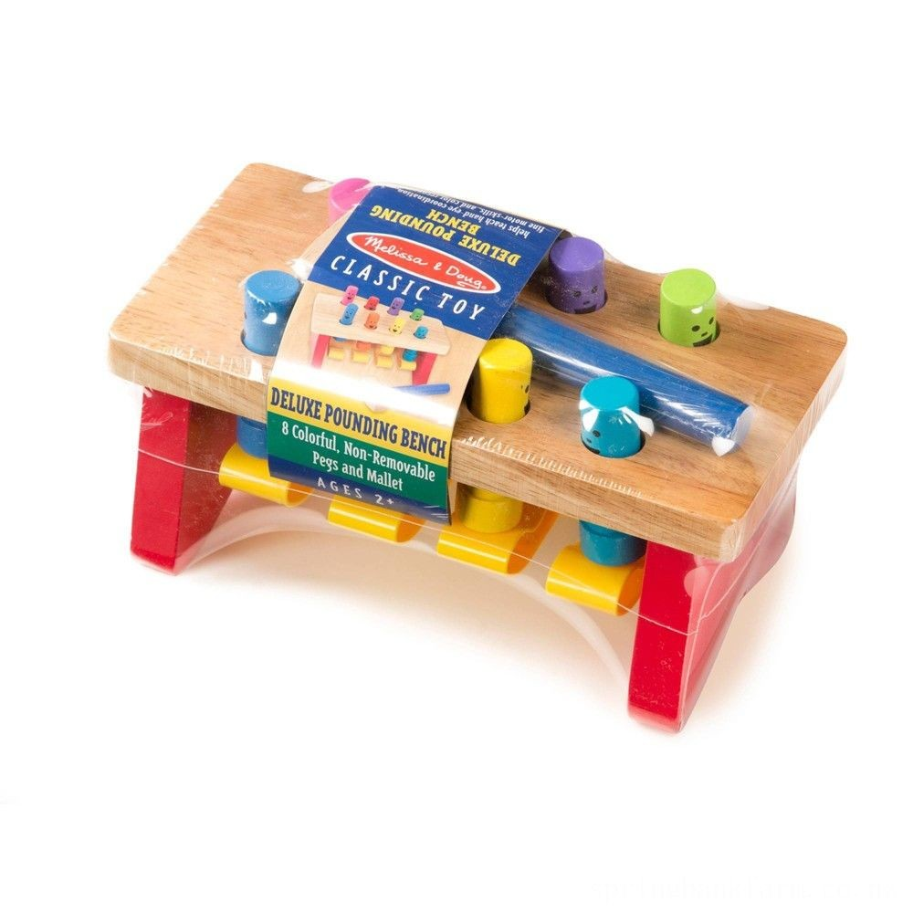 Melissa & Doug Deluxe Pounding Bench Wooden Toy With Mallet Deal