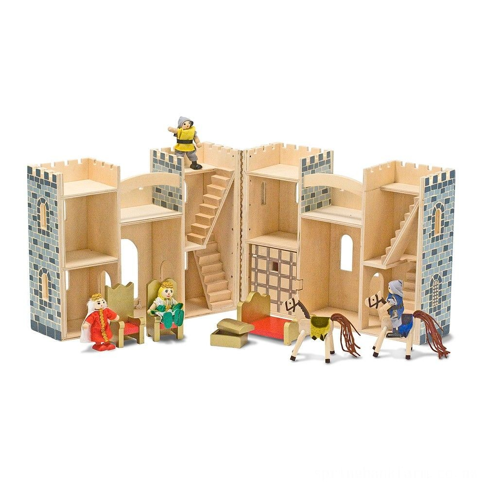Melissa & Doug Fold and Go Wooden Castle Dollhouse With Wooden Dolls and Horses (12pc) Deal