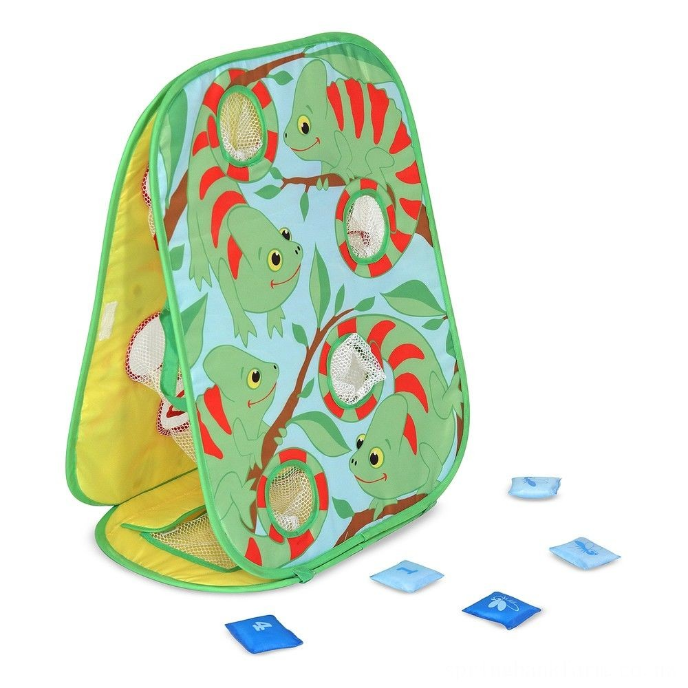 Melissa & Doug Sunny Patch Verdie Chameleon Double-Sided Bean Bag Toss Game With 8 Bean Bags, Kids Unisex Deal