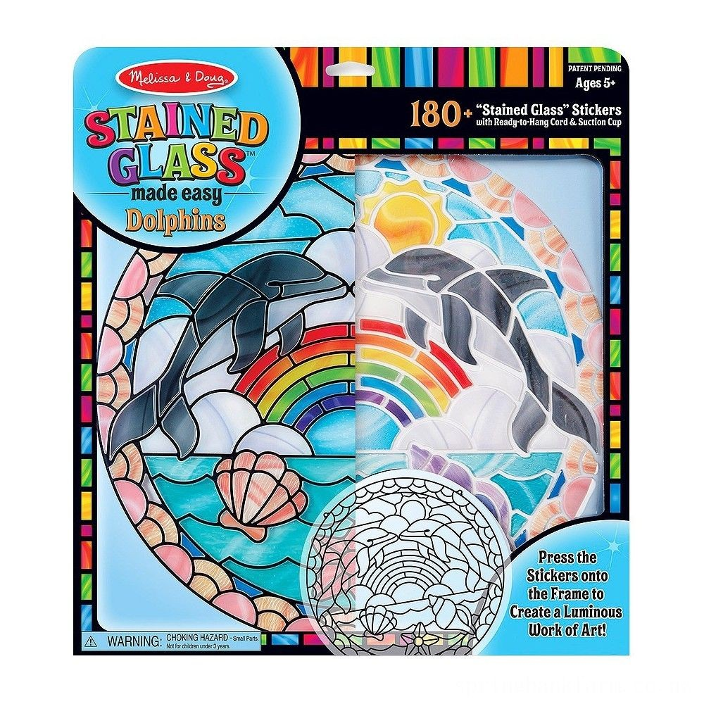 Melissa & Doug Stained Glass Made Easy Craft Kit: Dolphins - 180+ Stickers Deal