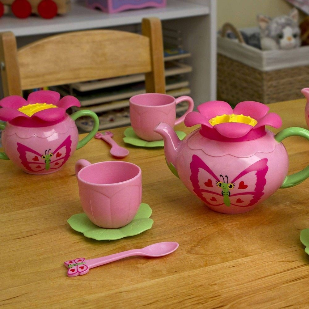 Melissa & Doug Sunny Patch Bella Butterfly Tea Set (17pc) - Play Food Accessories Deal