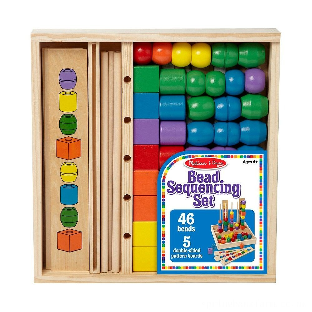 Melissa & Doug Bead Sequencing Set With 46 Wooden Beads and 5 Double-Sided Pattern Boards Deal