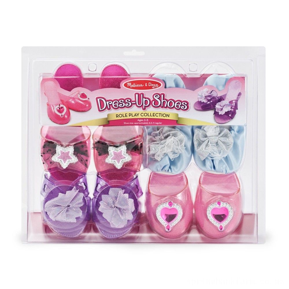 Melissa & Doug Role Play Collection - Step In Style! Dress-Up Shoes Set (4 Pairs) Deal